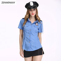 Female Sexy Police Officer Halloween Erotic Costumes for Women Sexy Cosplay Dress Role Play Sex Lingerie Hot 3 Pieces Set