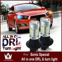 Tcart Auto Led Avant Clignotants Lumière et Éclairage Diurne DRL tout En Un Pour Snoic S25 Led Direction Lampe PY21W BAU15S 1156