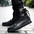 Los nuevos Hombres Zapatos Casuales de Alta Calidad de La Pu de Cuero de Los Hombres de Alta Superior de Moda los zapatos de Encaje Transpirable Zapatos de Hip Hop Hombres Rojo Negro blanco