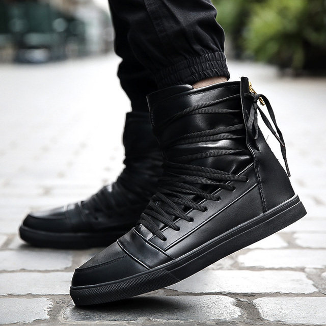 New Men Casual Shoes Top Quality Pu Leather Men High Top Shoes Fashion Lace Up Breathable Hip Hop Shoes Men Red Black White