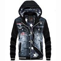 YWSRLM Men Thick Winter Jacket Denim Jeans Fashion Casual Sportswear Hooded Sweatshirts Cowboy Jackets Men Jacket