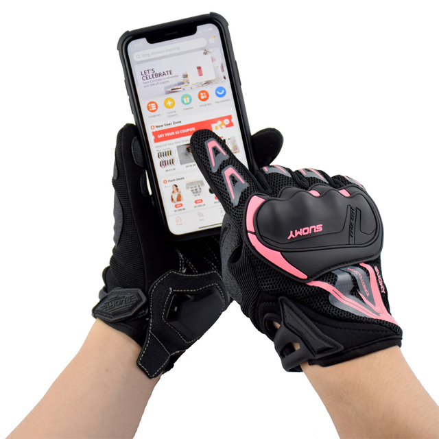 SUOMY Summer Breathable Motorcycle Gloves Touch Screen Guantes Motorbike Protective Gloves Cycling Racing Full Finger Gloves 5