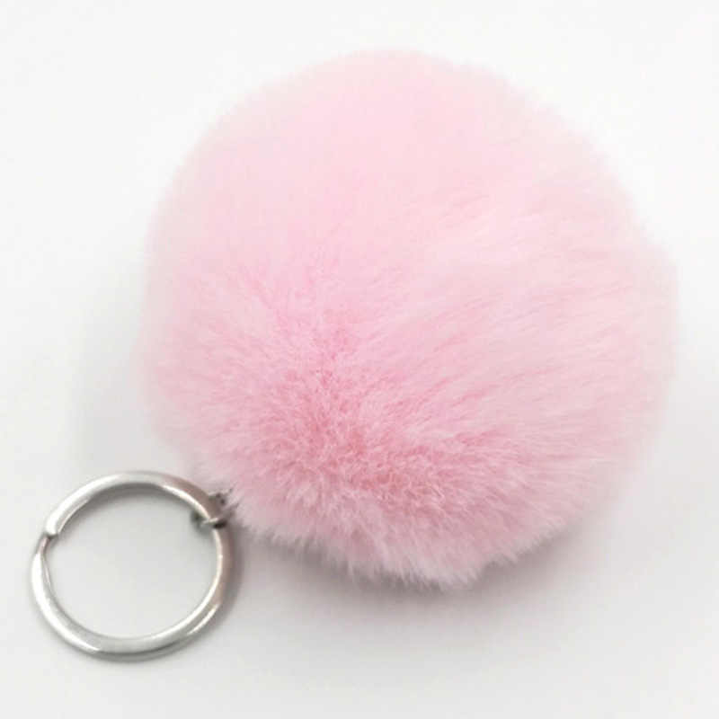 Пушистый мех кролика мяч милый брелок для ключей кремовый черный помпон искусственный мех кролика брелок для женщин автомобильный брелок для ключей