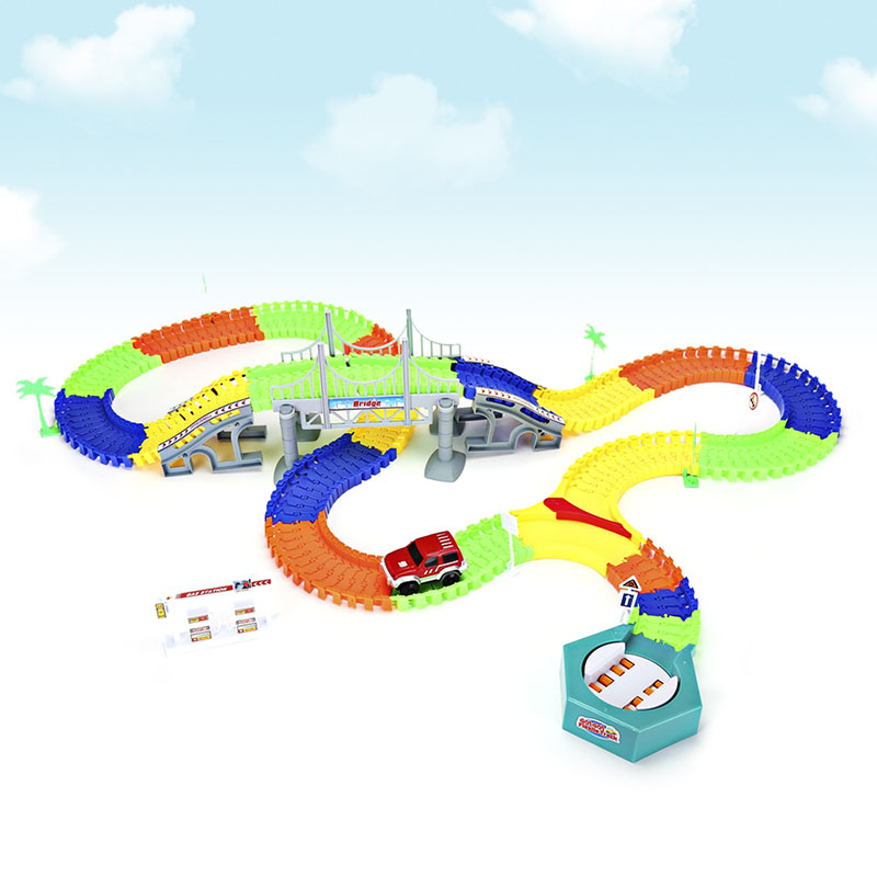 DIY Puzzle Toy Roller Coaster Track Electronics Toys Car Rail Car Toy for Children Racing Track Assembly Flexible Twister Car