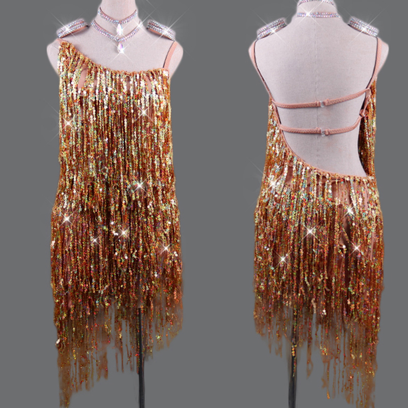 Sparkly Latin Dance Dress Women Sexy Golden Fringe Dress Evening Party Stage Costume Girls Dance Clothes Latin Dresses VDB140