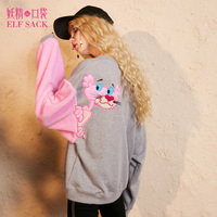 ELF SACK Embroidery Tiger Women Casual Sweatshirts Loose Pink Sweet Womens Tops Round Neck Fashion Pullovers