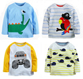 1-6Y new 2016 Boys T-shirt  Baby Boy brand tshirts Kids Tees Children tees Long Sleeve 100%Cotton Cars Fireman Top Quality Free