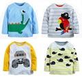 1-6Y nuevo 2016 Niños Camiseta Del Bebé camisetas de la marca de Niños camisetas Niños camisetas de Manga Larga 100% Algodón Coches Bombero de Calidad Superior envío