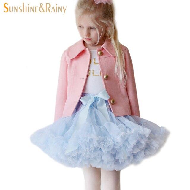 Sunshine & Rainy Girls Fluffy Skirt Chiffon Pettiskirt 0-10Y Tutu Petticoat Girl Princess Dance Party Tulle Skirts