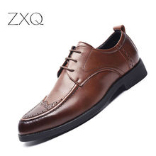 New Design Men Dress Shoes Genuine Leather British Style Business Casual Shoes Male Wedding Formal Oxfords Shoes brock engraved business casual leather shoes men oxfords dress wedding shoes male british breathable pointed shoes hjm89