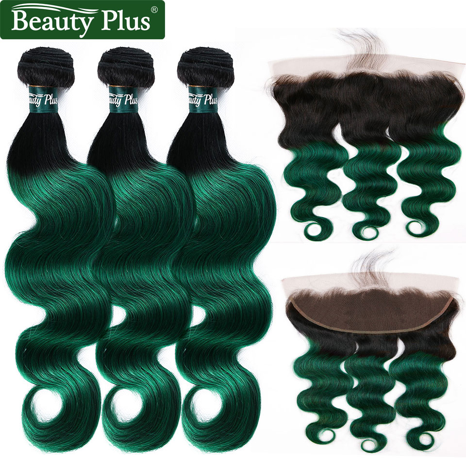 Turquoise Bundles With Frontal Malaysian Hair Bundles With Closure NonRemy Beauty Plus Dark Green Ombre 2 3 Bundles With Frontal
