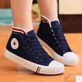 En forma de bota zapatos de las mujeres 2016 la moda de nueva mujer zapatos de los planos de las mujeres respirables ocasionales zapatos de lona clásicos