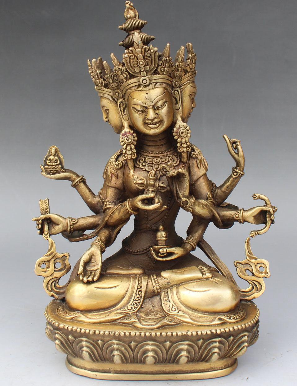 9 Tibet Buddhism BRASS 3 Head 8 Arms Namgyalma & Ushnishavijaya Buddha Statue poppy flower9 Tibet Buddhism BRASS 3 Head 8 Arms Namgyalma & Ushnishavijaya Buddha Statue poppy flower