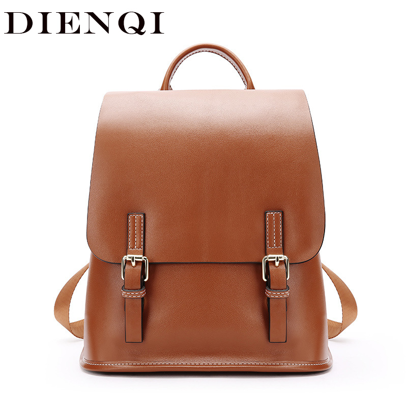 DIENQI 2018 New Arrival Vintage Genuine Leather Women Backpacks Bagpack Big Capacity School Backpack for Teenage Girls sac a dos цена
