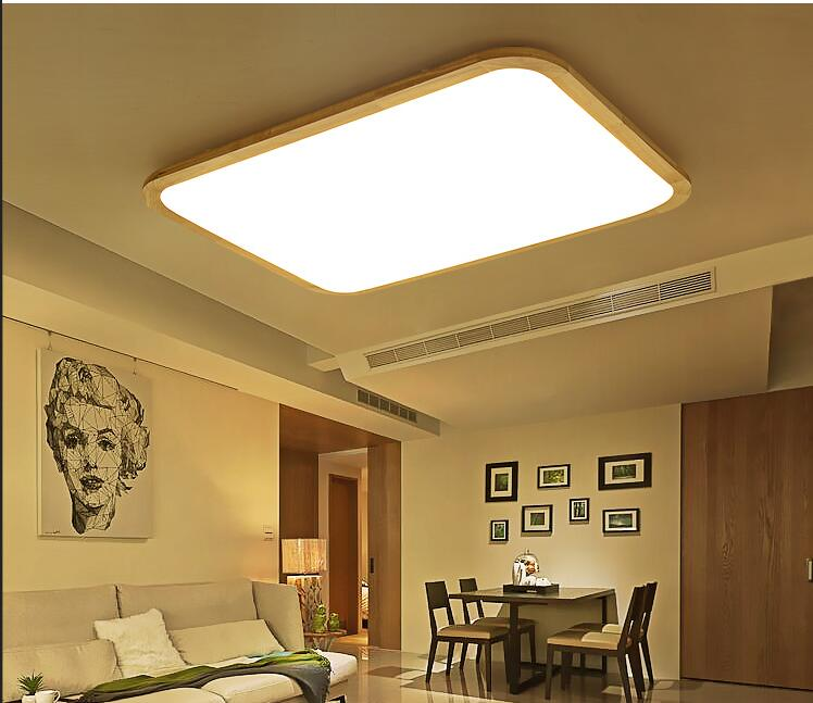 living room bedroom Ceiling Lights Solid Wooden Ceiling lamps LED light absorption simple wooden Japanese rectangular creative star moon lampshade ceiling light 85 265v 24w led child baby room ceiling lamps foyer bedroom decoration lights