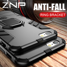 ZNP Lüks Zırh Telefon Kılıfı Için iPhone X 7 8 6 6 s Artı 5 5 s SE Tam Darbeye kapak Için iPhone 7 8 Artı X Tutucu Yüzük