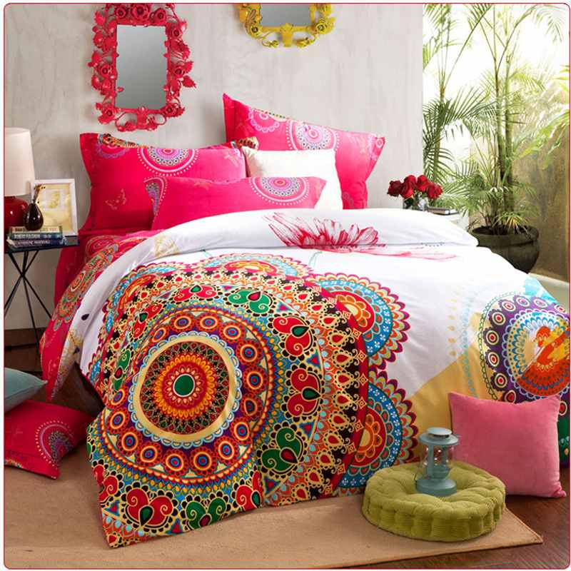 Luxury boho bedding sets queen king size bedclothes ...