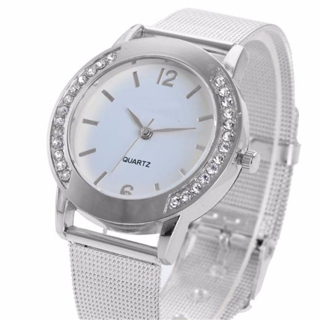 Luxury silver Women Bracelet Watch Crystal silver Mesh Band Wrist Watch geneva L