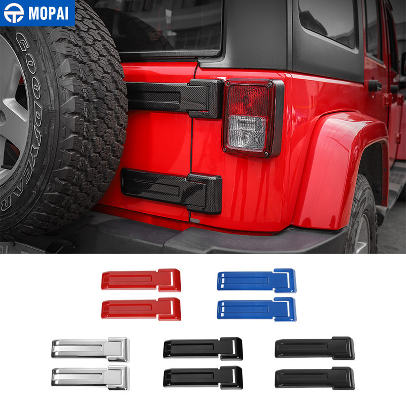 MOPAI ABS Car Exterior Rear Spare Tire Tailgate Door Hinge Decoration Cover Stickers for Jeep Wrangler JK 2007 Up Car Styling mopai abs car exterior accessories door handle decoration cover trim stickers for jeep wrangler 2007 up car styling