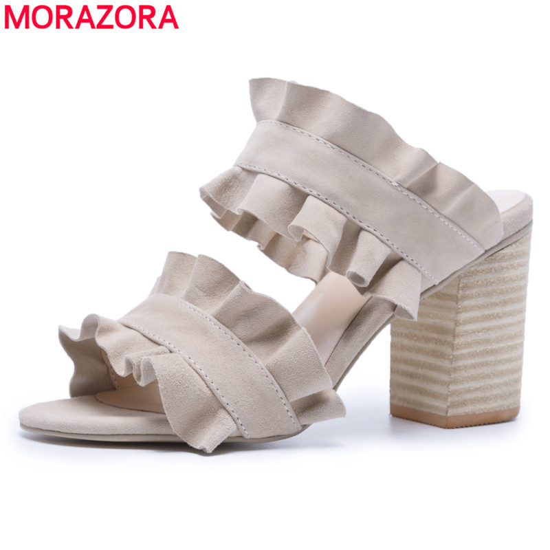 MORAZORA Large size 34-42 New arrive suede sheepskin leather high heels women sandals square heel ladies summer ladies shoesMORAZORA Large size 34-42 New arrive suede sheepskin leather high heels women sandals square heel ladies summer ladies shoes