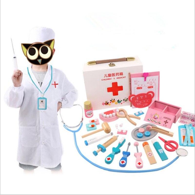 2018 enfant docteur jouet ensemble petite infirmière outil d'injection en bois semblant jouer boîte de médecine mâle fille bébé semblant jouets pour enfants