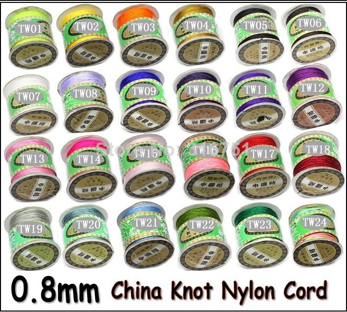 (Pick Color )AA+ Quality! 24 COLORS 135yards X 0.8mm Nylon Chinese Knot Cord Rattail Satin Jewelry Beading Thread(w03222-w03230)