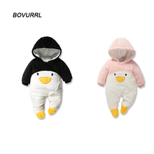 BOVURRL Newborn Baby Rompers Cartoon Hooded Winter Clothing Thick Cotton Girls Outfits Boys Jumpsuit Infant Cloth