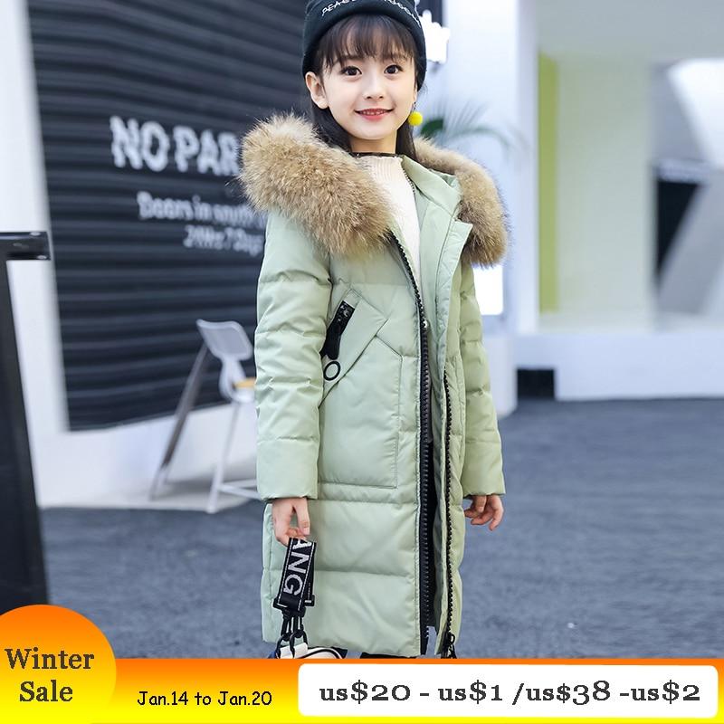 Billige Kaufen Mädchen Winter Mantel Aus Ente Unten Mit Kapuze Lange