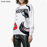 Women White Casual Print Mouth Letter Loose Sweaters New Fashion Designer Autumn and Winter Knitted Pullovers Sweater