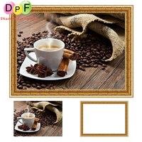 DPF Diamond Painting Cross Stitch Kits Coffee Cup 5d Round Full Diamond Mosaic Have Frame Diamond