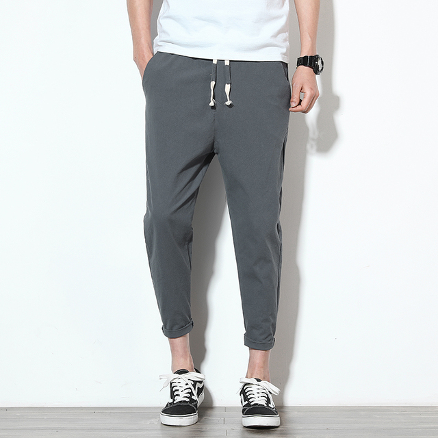 2020 Men Pure Cotton Sportswear Pants Casual Fitness 8 Color Workout Pants Skinny Sweatpants Trousers Big Size Jogger PantsM-5XL 1