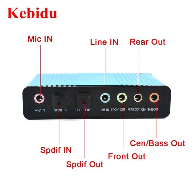 Kebidu USB 2,0 Звуковая карта 6-канальный 5,1 Внешний Оптический Аудио карты контроллер SPDIF CM6206 Чипсет для портативных ПК рабочего Tablet