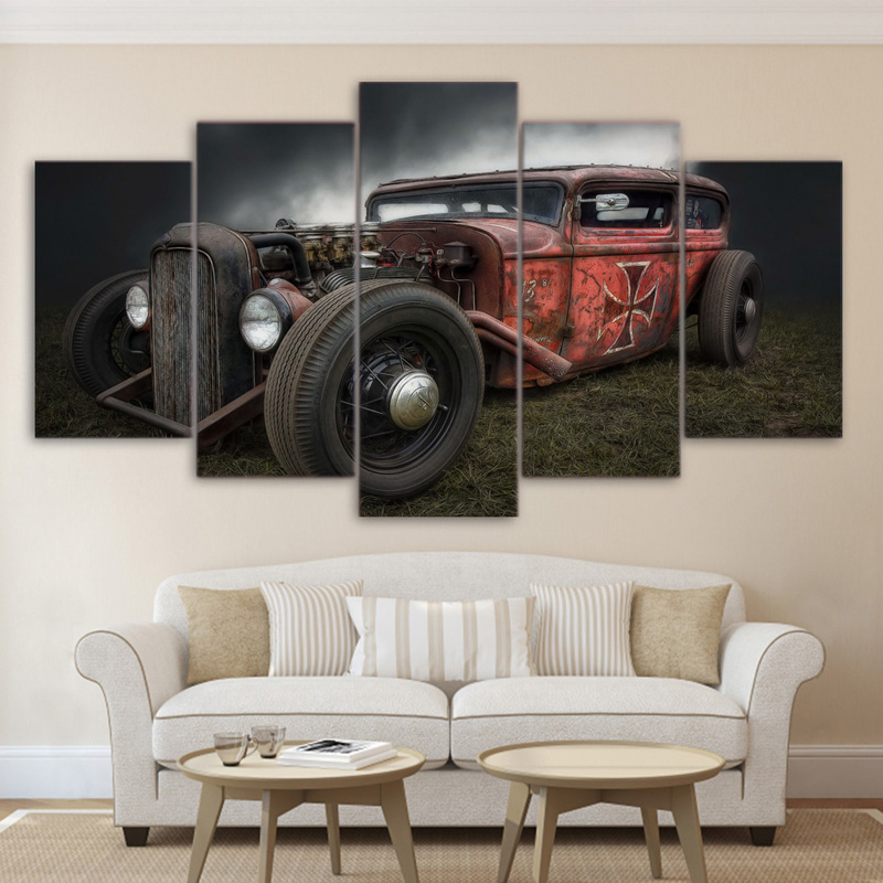 Full Square/Round Drill 5D DIY diamond painting5 Pieces Antique Hot Rod Vintage CarDiamond Embroidery Cross Stitch Home Decor