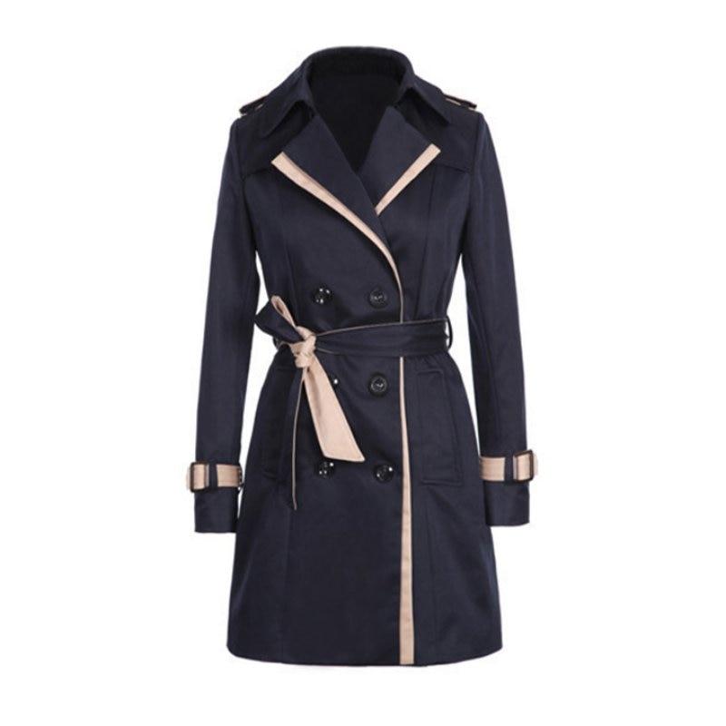 2017 Women   Trench   Coat Winter Slim Double-Breasted Trenchcoat Ladies Casual Windbreaker Outwear Plus Size