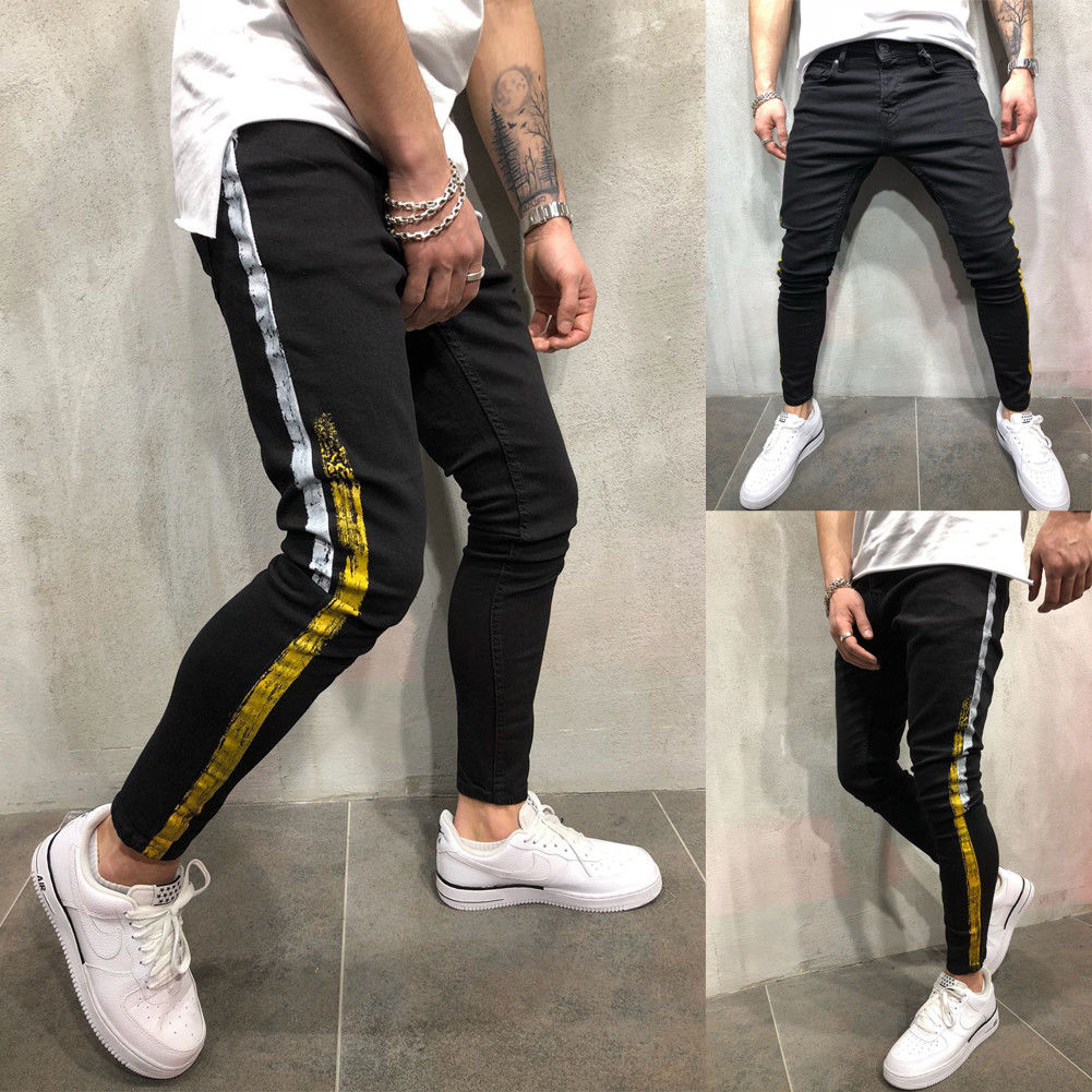 2019 New Men's Slim Fit Bodybuliding Straight Leg Black Trousers Pencil Sportwear Pants Plus Size 28-40(China)