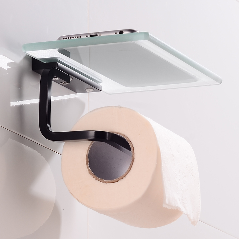 Toilet Paper Holder with Shelf Glass Aluminum Bathroom Tissue Roll Paper Holder Wall Mounted WC Paper Towel Holder Black