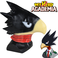 Anime My Boku no Hero Academia Tokoyami Fumikage Mask Cosplay Bird Head Full Head Latex Helmet Mask Halloween Party Props