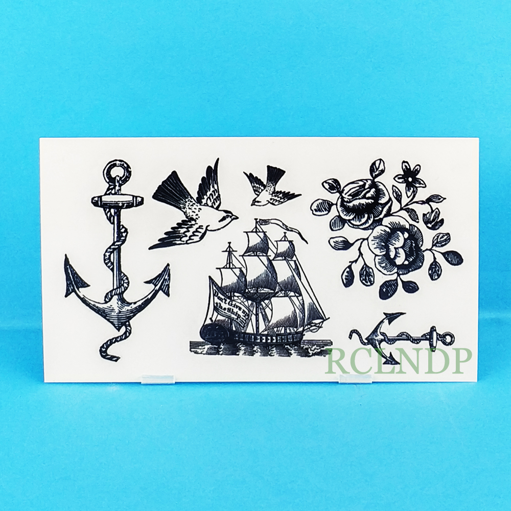 Waterproof Temporary Tattoo Sticker Old School Anchor Sailboat Tatto Stickers Flash Tatoo Fake Tattoos For Girl Women Men