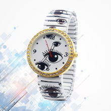 1pc ladies women Quartz Wristwatches Easy Retro Informal Watch Inventive Eye Sample Design Alloy Elastic strap Watch present H25