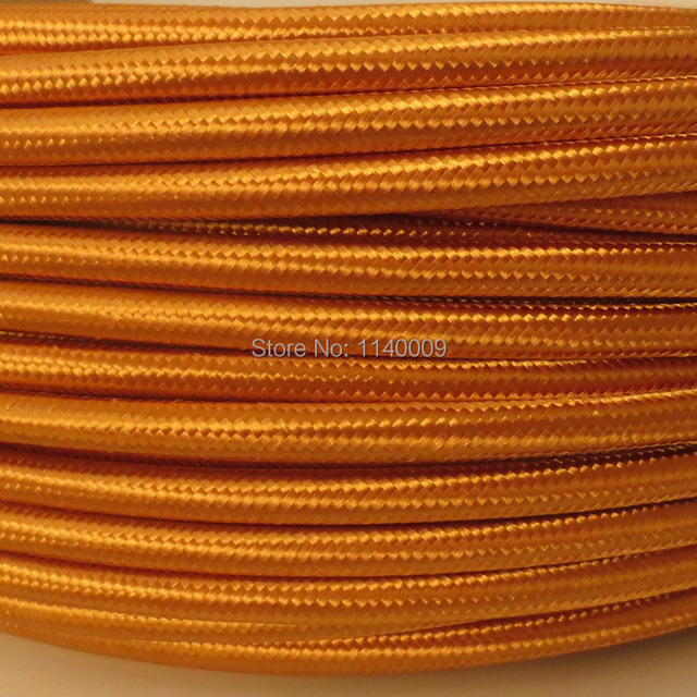 Golden color 3 core 0.75mm2 Edison lamp wire color braided ...