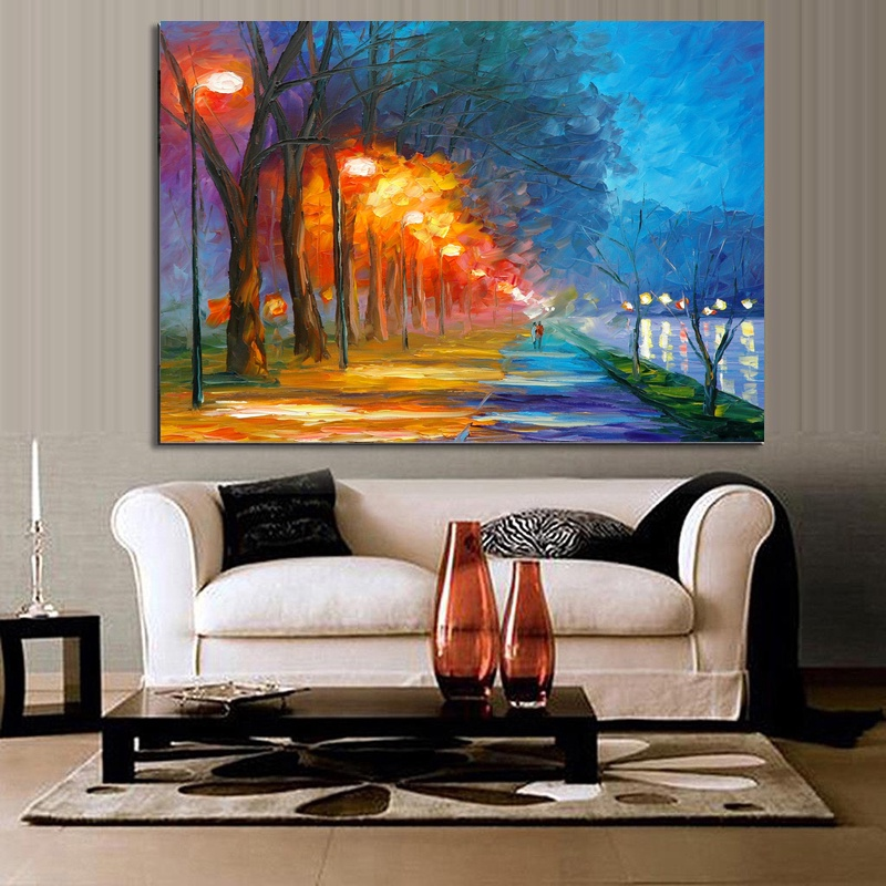 Landscape Oil Painting Under Street Lights Print on Canvas Wall Art Poster Home Decor Paintings 60x80cm