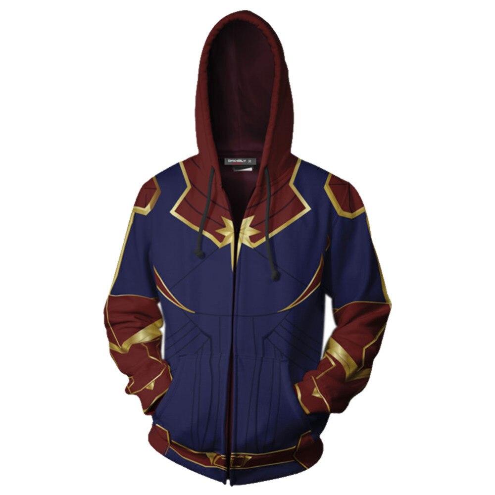 The Avengers Captain Marvel Hoodie Carol Danvers Cosplay Hoody Hoodie Adult Man Jacket Coat
