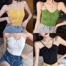 V neck off shoulder strap sexy crop top women casual streetwear summer drawstring white,black crop top mujer 9 colors