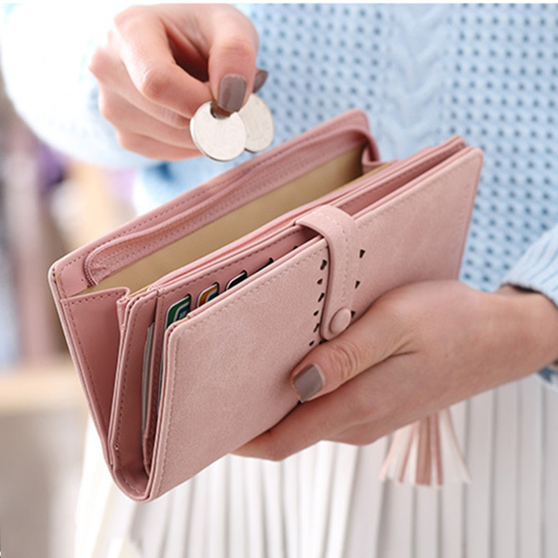 все цены на Brand Wallets Women Purses Zipper Long Designer Leather Coin Purses Money Bags Card Holders Clutch Wristlet Phone Wallets Female