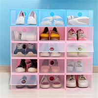 Shoe Box New Eco Friendly Storage Box Transparent Plastic box Organize Rectangle Glossy makeup Shoe Organizer Case PP Shoe Box 4