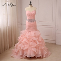 ADLN Pink Wedding Dresses Sweetheart Sleeveless Crystals Pleats Mermaid Wedding Gowns Organza Garden Vestidos De Novia