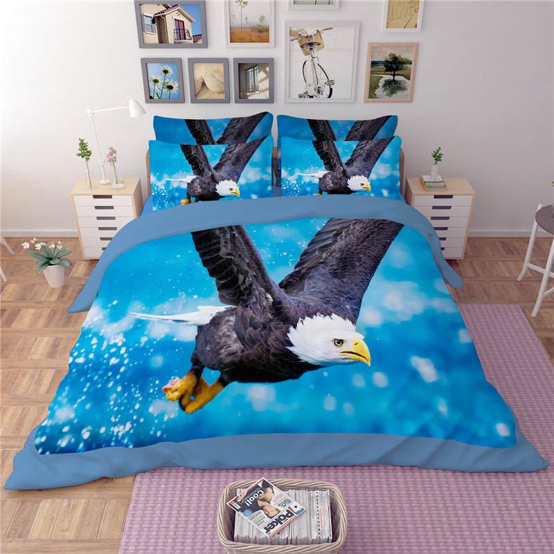 Aigle oiseaux 3D imprimé couette ensembles de literie double reine complète roi taille couette/housse de couette 3pc garçons adultes linge de lit couleur bleue - 2