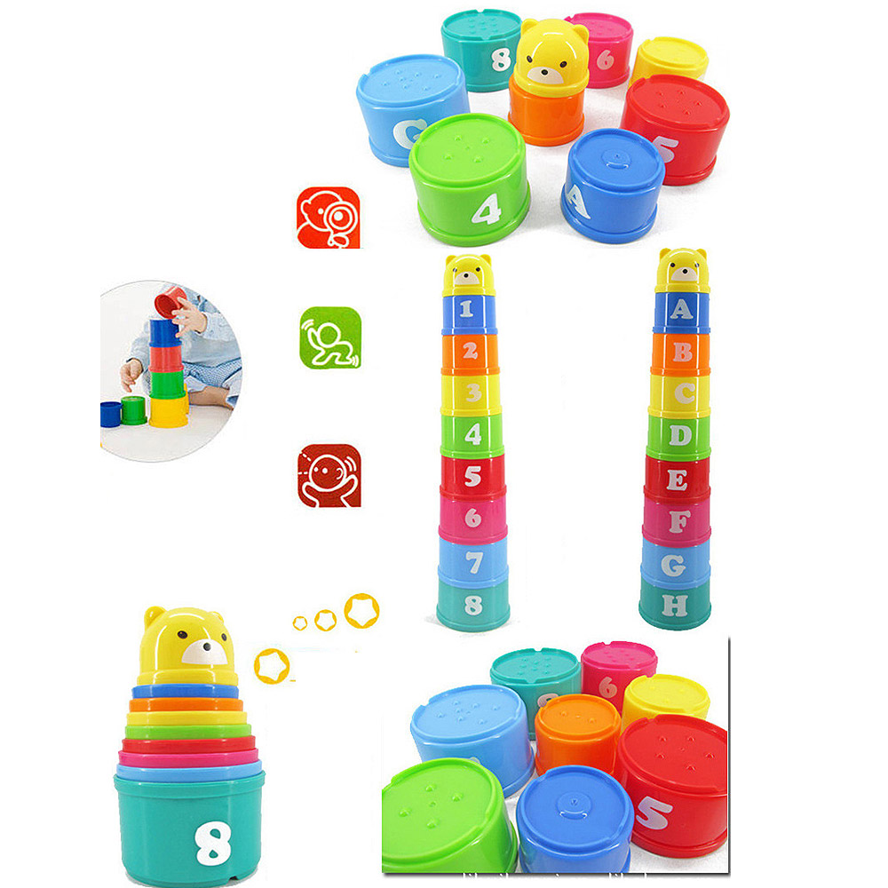 9pcs Stack Cup Tower Figures Letters Educational Baby Toys Foldind Children Early Intelligence 24 Months Babies Games