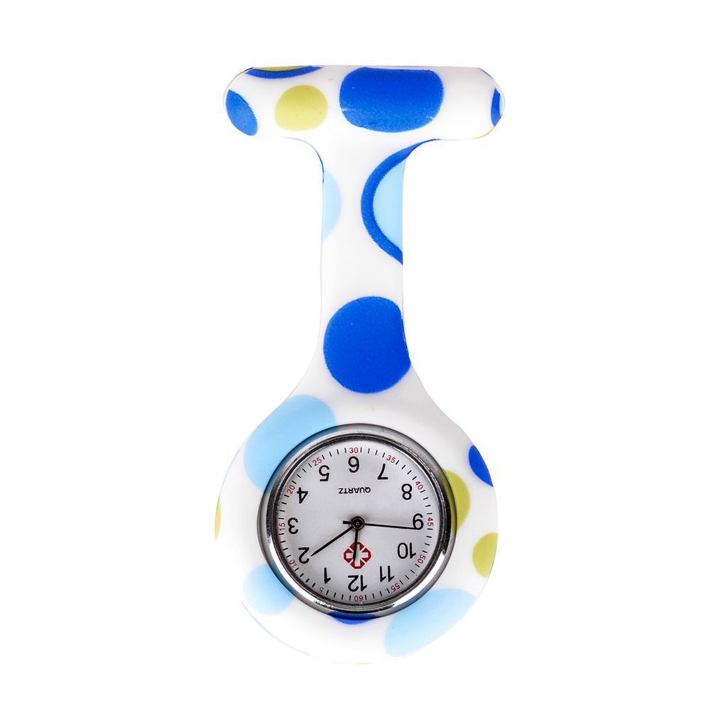 Blue White Big Round Pattern Silicone Nurses Brooch Tunic Fob Pocket Watch Stainless Dial