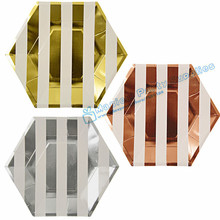 Free Shipping 72pcs Foil Gold/Silver/Rose Hexagon Paper Plate Stripe Wedding Dinner Tableware Gold and White Stripe Paper plates donolux светильник встраиваемый sn1583 white gold stripe